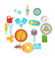 auto spare parts icons set cartoon style vector image vector image