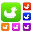 black duck toy set color collection vector image