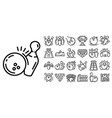 bowling icon set outline style vector image