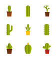 cactus icon set flat style vector image vector image