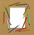 clipboard with color pencils vector image vector image