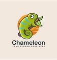 colorful chameleon mascot cartoon logo icon vector image vector image