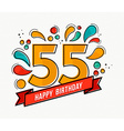Colorful happy birthday number 55 flat line design vector image