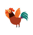 colorful rooster crowing and waving its wings vector image vector image
