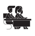 couple students at a desk black concept vector image