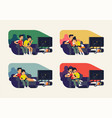 couple watching tv series flat character design vector image vector image