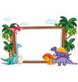 dinosaur on blank template vector image vector image