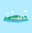 eco residential house with solar panels and wind vector image vector image