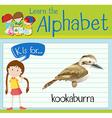 Flashcard alphabet K is for kookaburra vector image vector image