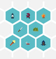 flat icons hunting cutter ship barbecue and vector image vector image