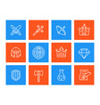 game icons set swords magic wand bow fortress vector image vector image