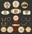 golden badges and labels collection 3 vector image vector image