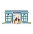 hairdresser cuts client in barber shop building vector image