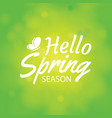 hello spring on green bokeh background greeting vector image vector image