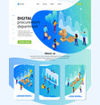 isometric landing page for big business vector image