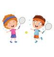 kids playing tennis vector image
