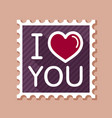 lettering i love you stamp vector image