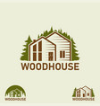 logo wood house and forest house for sale sign vector image vector image