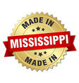 made in Mississippi gold badge with red ribbon vector image vector image