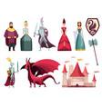 medieval kingdom characters 2 flat horizontal sets vector image