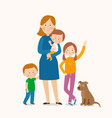 mother standing with her three children vector image vector image