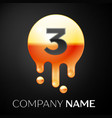 number three splash logo golden dots and bubbles vector image vector image