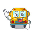 okay school bus character cartoon vector image