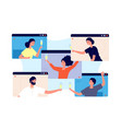 online party friends celebrate birthday meeting vector image vector image
