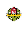 organic farm logo with red barn vector image vector image