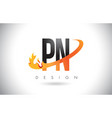 pn p n letter logo with fire flames design and vector image vector image