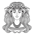 portrait of gypsy woman with flowers vector image