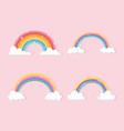 rainbow with clouds cartoon bright fantasy icons vector image