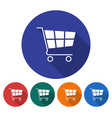 round icon of shopping trolley flat style with vector image