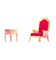 royal chair and bedside table for bedroom interior vector image vector image