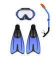 scuba mask set underwater sport and hobby vector image