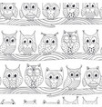 seamless pattern with funny owls on branch vector image vector image