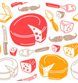 seamless pattern with graphic image of cheese vector image vector image