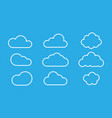set clouds isolated on blue background weather vector image vector image