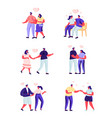 set flat people love couple on a date vector image