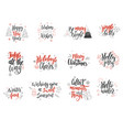 set of christmas greeting cards hand drawn design vector image