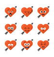 set of different emoticons emoji heart faces with vector image vector image