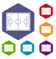 soccer field icons set hexagon vector image vector image