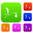 stork carrying set color collection vector image vector image