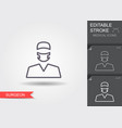 surgeon line icon with editable stroke vector image vector image