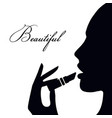woman face silhouette a woman in profile icon vector image vector image