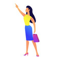 young business woman with shopping bag pointing vector image vector image