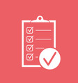 checklist icon survey in flat design on red vector image