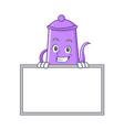 grinning board purple teapot character cartoon vector image