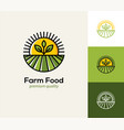 agriculture logo with farm field plant and sun