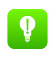 bulb with exclamation mark inside icon digital vector image vector image